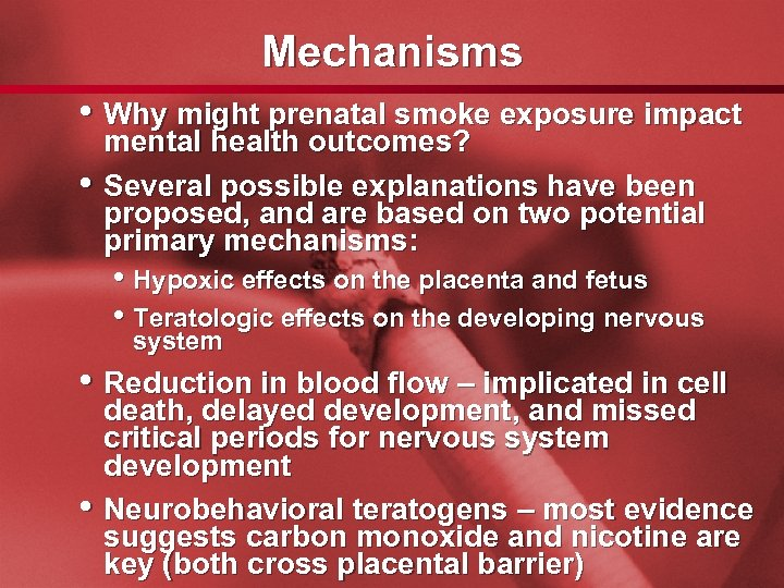 Slide 52 Mechanisms • Why might prenatal smoke exposure impact • mental health outcomes?