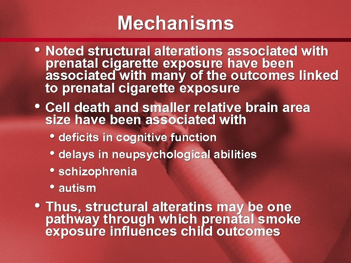 Slide 54 Mechanisms • Noted structural alterations associated with • prenatal cigarette exposure have