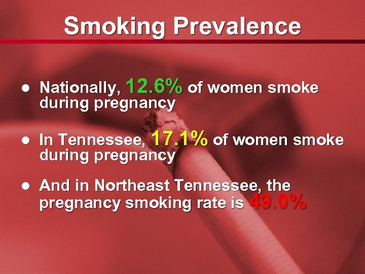 Slide 8 Smoking Prevalence l Nationally, 12. 6% of women smoke during pregnancy l