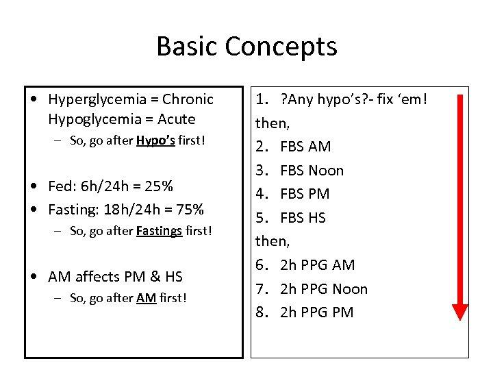 Basic Concepts • Hyperglycemia = Chronic Hypoglycemia = Acute – So, go after Hypo's