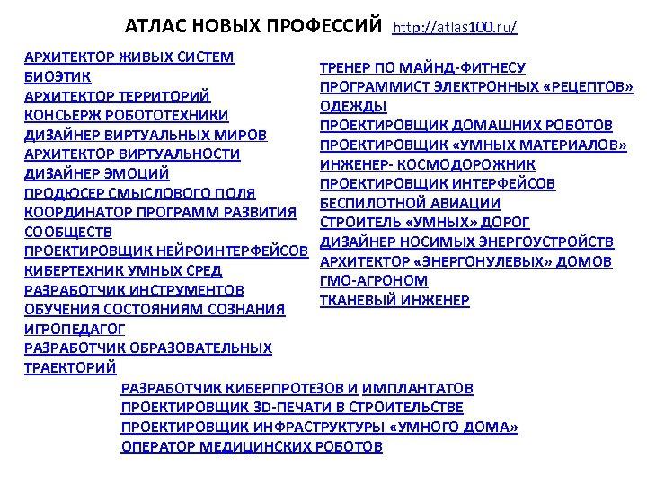 АТЛАС НОВЫХ ПРОФЕССИЙ http: //atlas 100. ru/ АРХИТЕКТОР ЖИВЫХ СИСТЕМ ТРЕНЕР ПО МАЙНД-ФИТНЕСУ БИОЭТИК