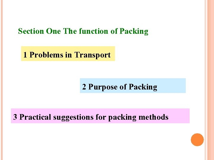 Section One The function of Packing 1 Problems in Transport 2 Purpose of Packing