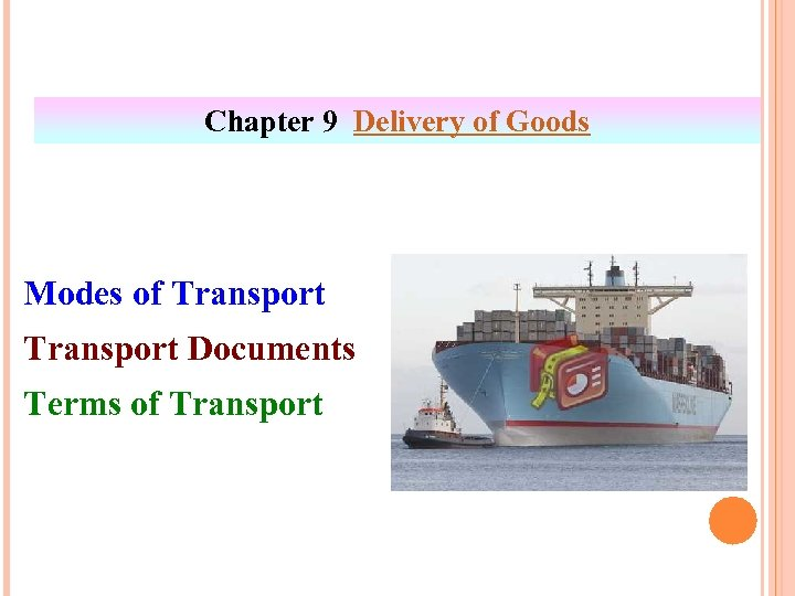 Chapter 9 Delivery of Goods Modes of Transport Documents Terms of Transport