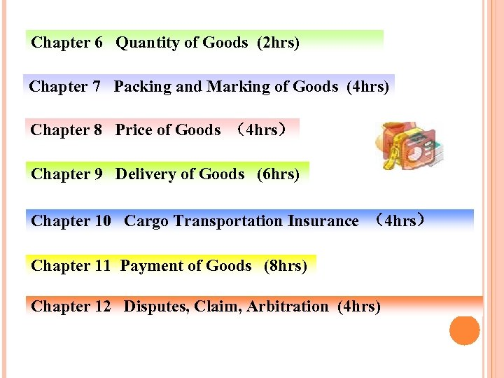 Chapter 6 Quantity of Goods (2 hrs) Chapter 7 Packing and Marking of Goods