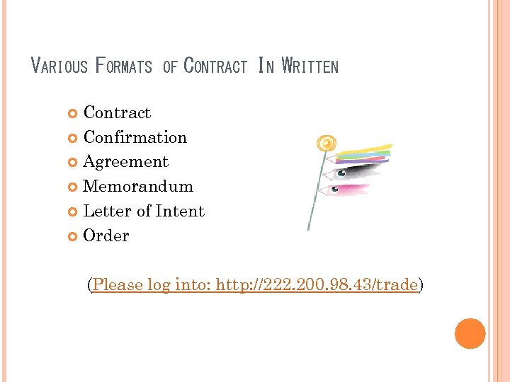 VARIOUS FORMATS OF CONTRACT IN WRITTEN Contract Confirmation Agreement Memorandum Letter of Intent Order