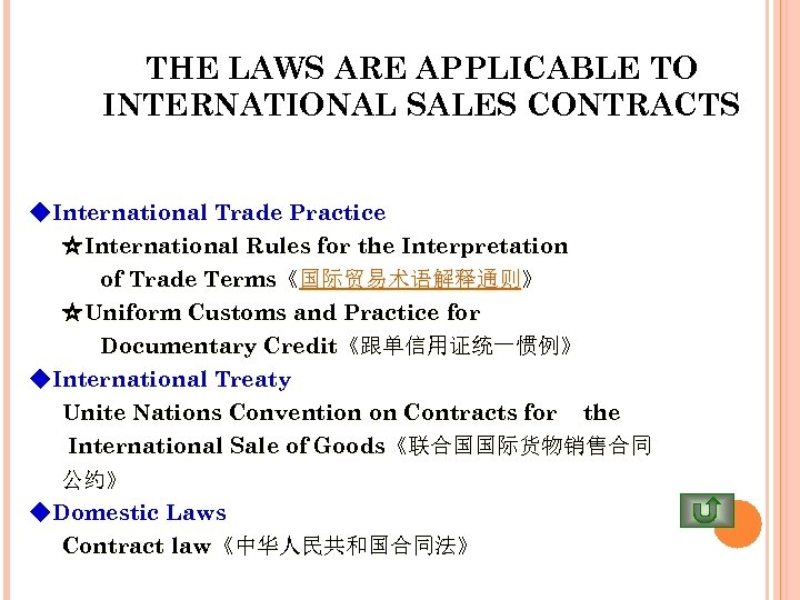 THE LAWS ARE APPLICABLE TO INTERNATIONAL SALES CONTRACTS ◆International Trade Practice ☆International Rules for