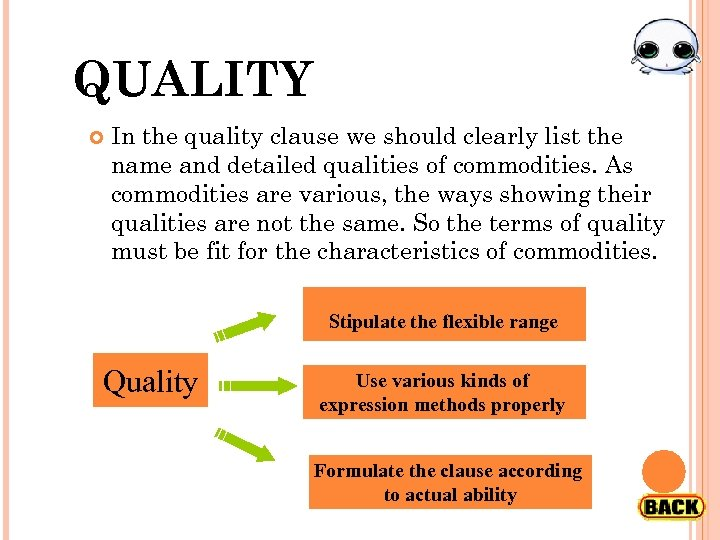 QUALITY In the quality clause we should clearly list the name and detailed qualities