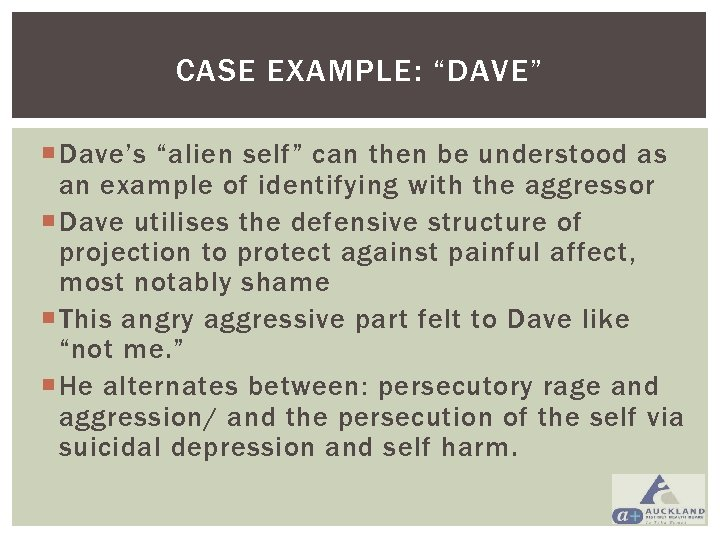 """CASE EXAMPLE: """"DAVE"""" Dave's """"alien self"""" can then be understood as an example of"""