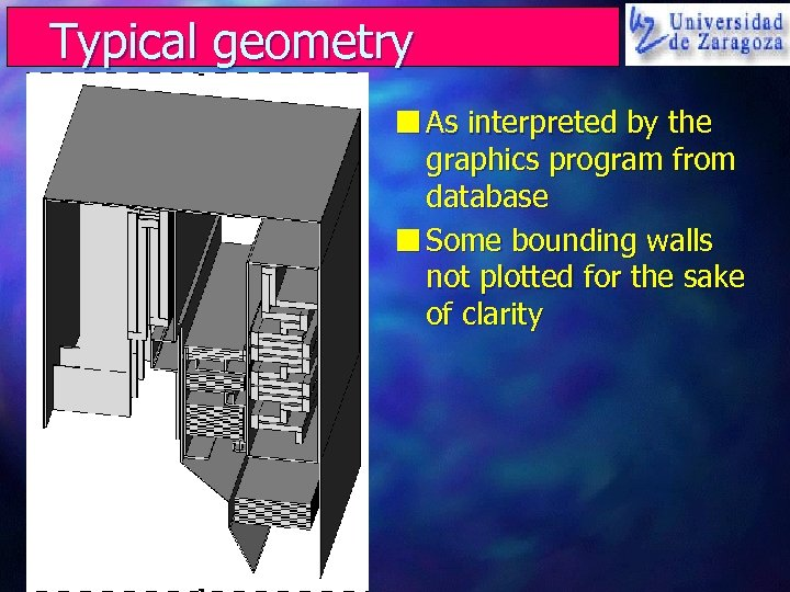 Typical geometry n As interpreted by the graphics program from database n Some bounding