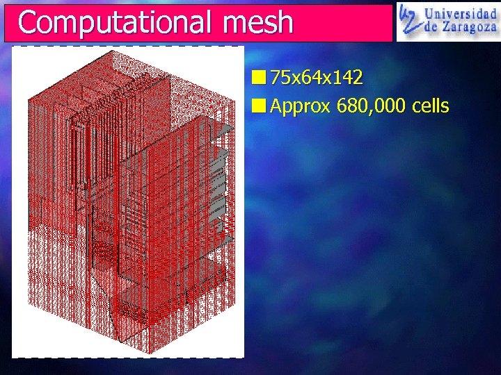 Computational mesh n 75 x 64 x 142 n Approx 680, 000 cells