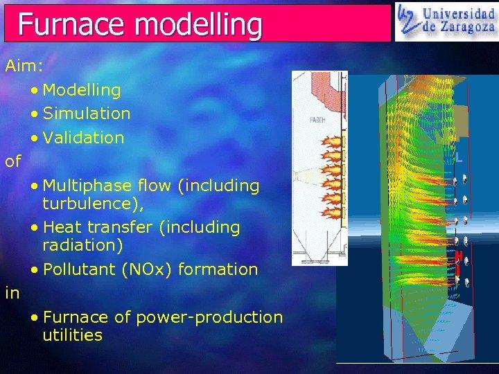 Furnace modelling Aim: • Modelling • Simulation • Validation of • Multiphase flow (including