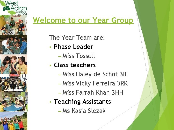 Welcome to our Year Group The Year Team are: • Phase Leader – Miss