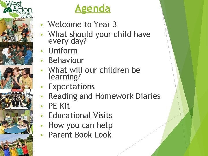 Agenda • • • Welcome to Year 3 What should your child have every