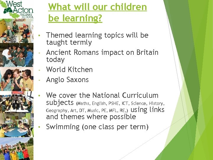 What will our children be learning? Themed learning topics will be taught termly -
