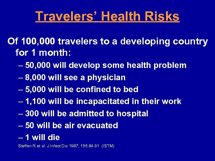 Travelers' Health Risks Of 100, 000 travelers to a developing country for 1 month: