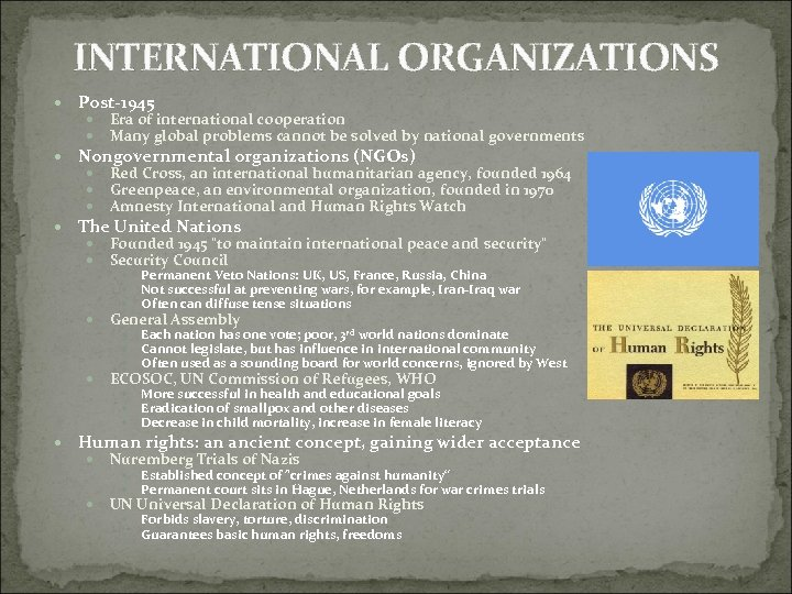 INTERNATIONAL ORGANIZATIONS Post-1945 Era of international cooperation Many global problems cannot be solved by