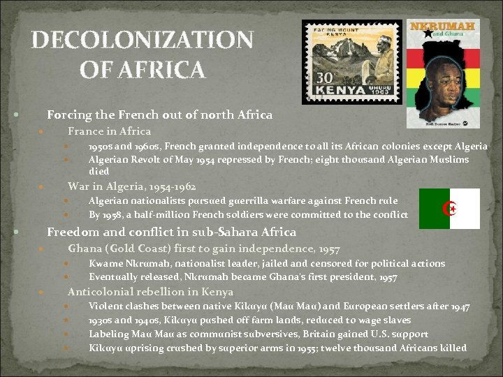 DECOLONIZATION OF AFRICA Forcing the French out of north Africa France in Africa 1950