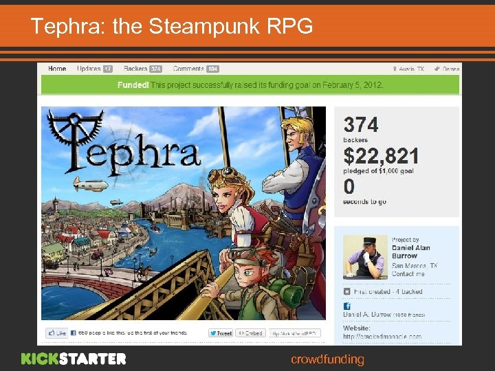 Tephra: the Steampunk RPG Board Game Higher financing rate in Games category crowdfunding