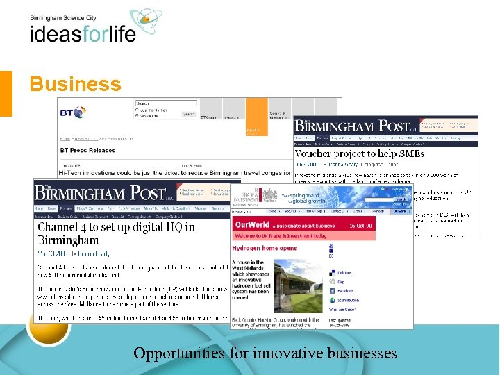 Business Opportunities for innovative businesses