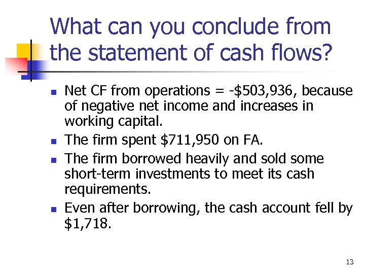 What can you conclude from the statement of cash flows? n n Net CF
