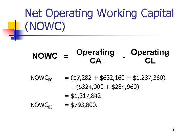 Net Operating Working Capital (NOWC) Operating NOWC = CA CL NOWC 06 = ($7,