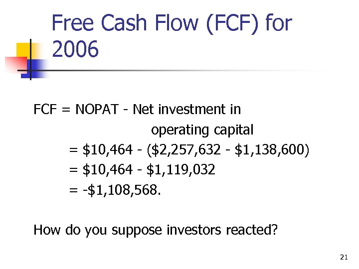 Free Cash Flow (FCF) for 2006 FCF = NOPAT - Net investment in operating
