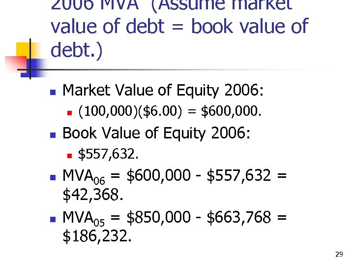 2006 MVA (Assume market value of debt = book value of debt. ) n
