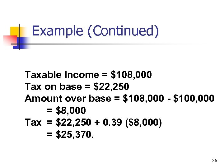 Example (Continued) Taxable Income = $108, 000 Tax on base = $22, 250 Amount