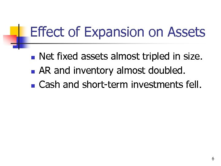 Effect of Expansion on Assets n n n Net fixed assets almost tripled in