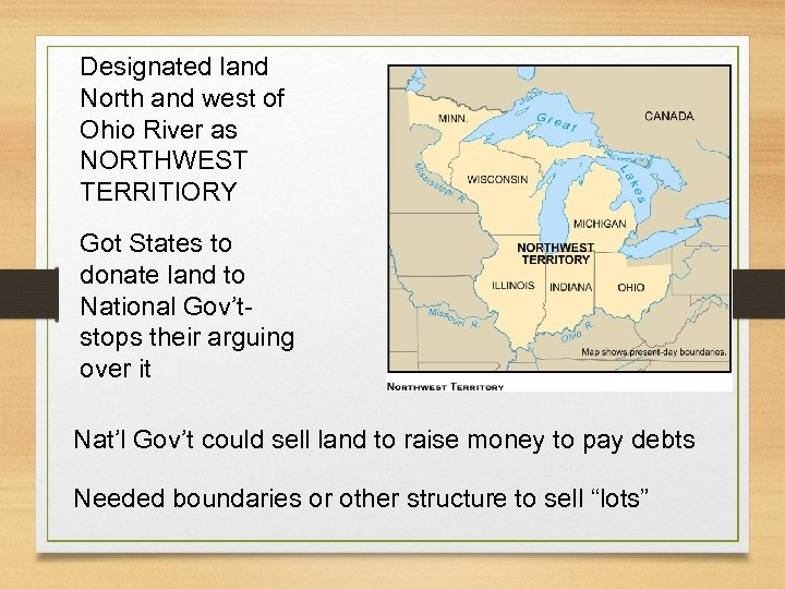 Designated land North and west of Ohio River as NORTHWEST TERRITIORY Got States to