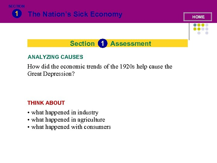 SECTION 1 The Nation's Sick Economy Section 1 Assessment ANALYZING CAUSES How did the