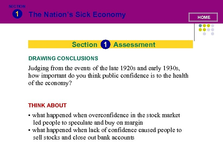 SECTION 1 The Nation's Sick Economy Section 1 Assessment DRAWING CONCLUSIONS Judging from the