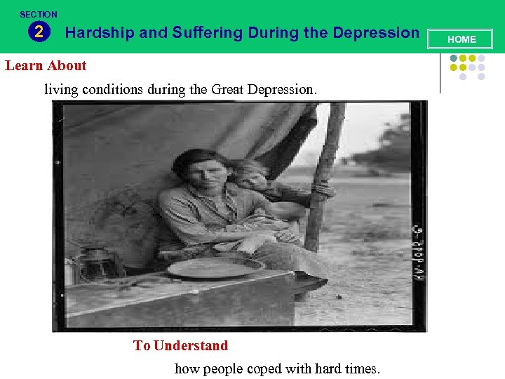 SECTION 2 Hardship and Suffering During the Depression Learn About living conditions during the