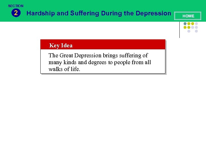 SECTION 2 Hardship and Suffering During the Depression Key Idea The Great Depression brings