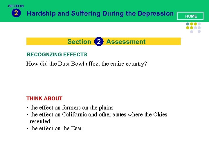 SECTION 2 Hardship and Suffering During the Depression Section 2 Assessment RECOGNZING EFFECTS How