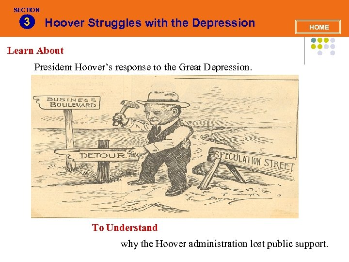 SECTION 3 Hoover Struggles with the Depression HOME Learn About President Hoover's response to