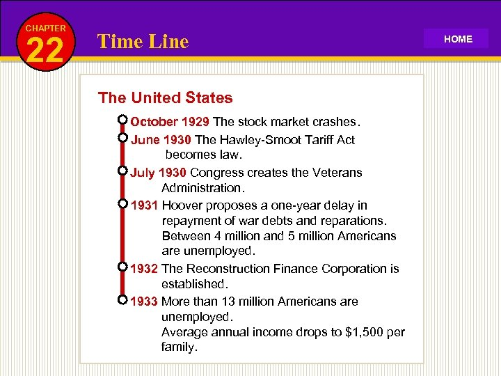 CHAPTER 22 Time Line The United States October 1929 The stock market crashes. June