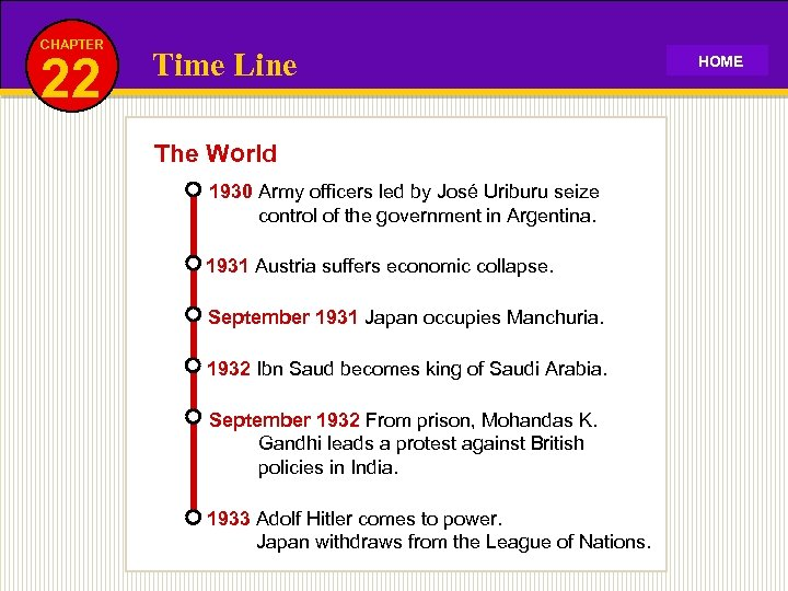 CHAPTER 22 Time Line The World 1930 Army officers led by José Uriburu seize