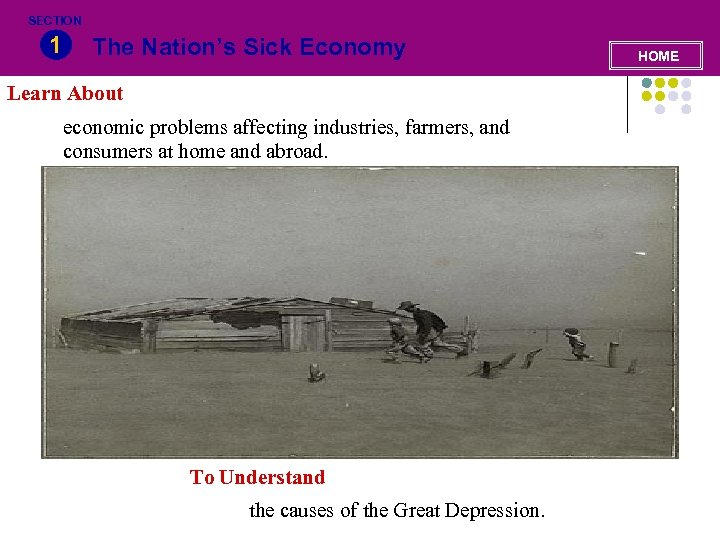 SECTION 1 The Nation's Sick Economy Learn About economic problems affecting industries, farmers, and