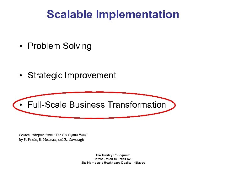 Scalable Implementation • Problem Solving • Strategic Improvement • Full-Scale Business Transformation Source: Adopted