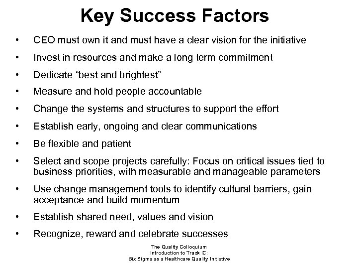 Key Success Factors • CEO must own it and must have a clear vision