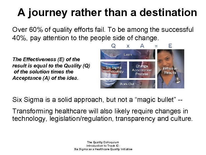 A journey rather than a destination Over 60% of quality efforts fail. To be