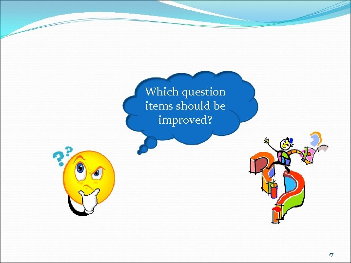 Which question items should be improved? 17
