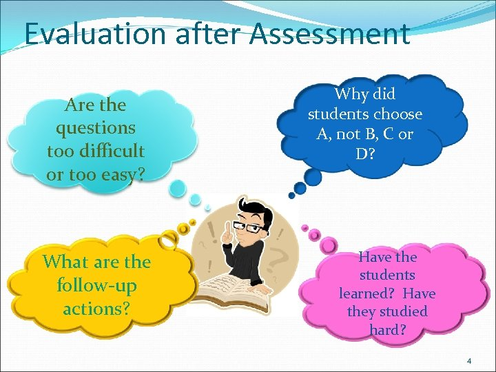 Evaluation after Assessment Are the questions too difficult or too easy? What are the