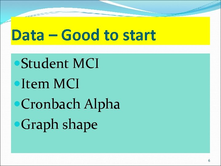 Data – Good to start Student MCI Item MCI Cronbach Alpha Graph shape 6