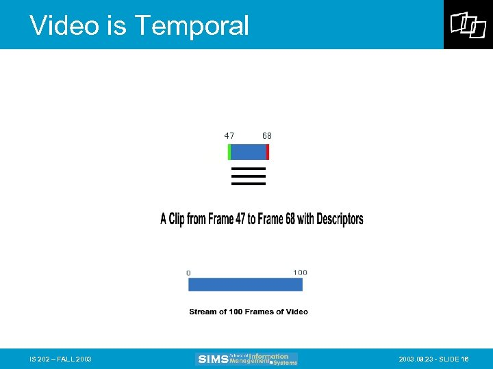 Video is Temporal IS 202 – FALL 2003. 09. 23 - SLIDE 16