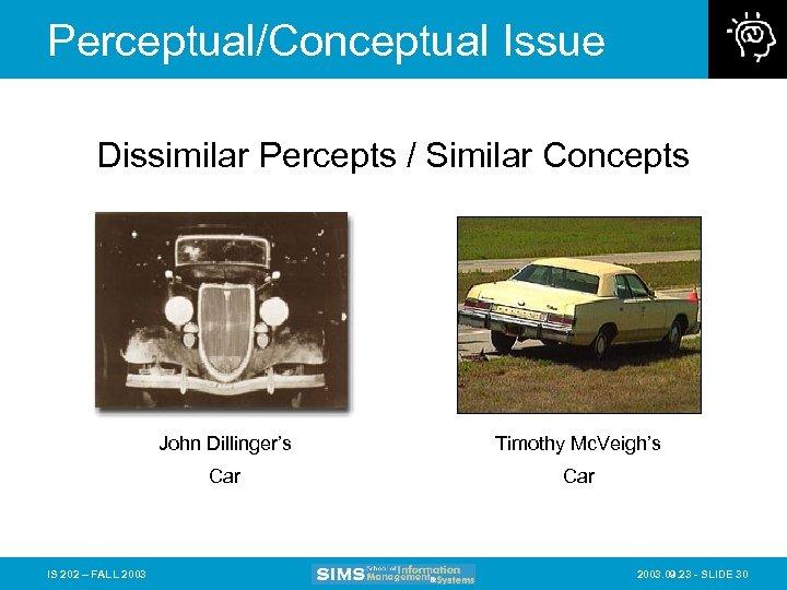 Perceptual/Conceptual Issue Dissimilar Percepts / Similar Concepts John Dillinger's Car IS 202 – FALL