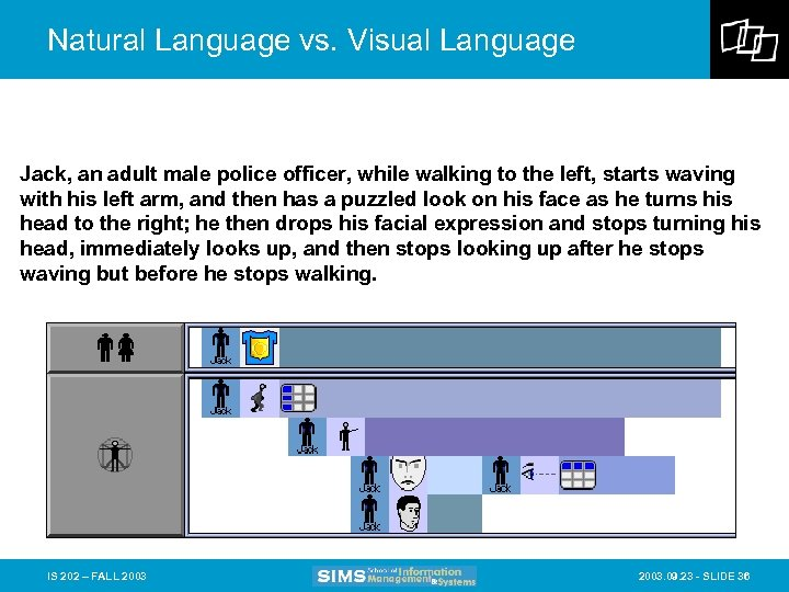 Natural Language vs. Visual Language Jack, an adult male police officer, while walking to