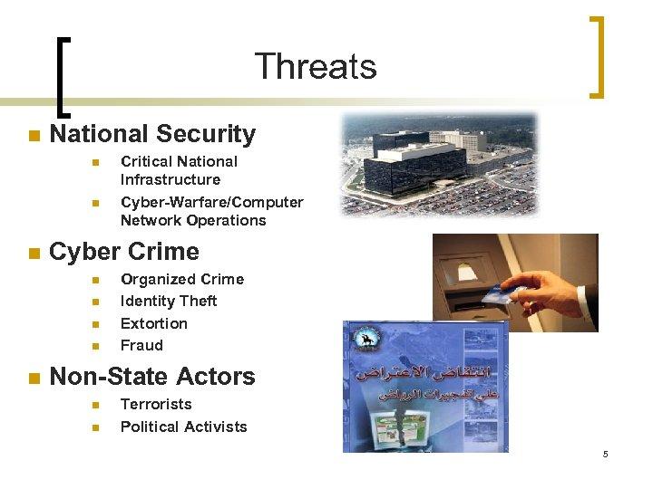 Threats n National Security n n n Cyber Crime n n n Critical National