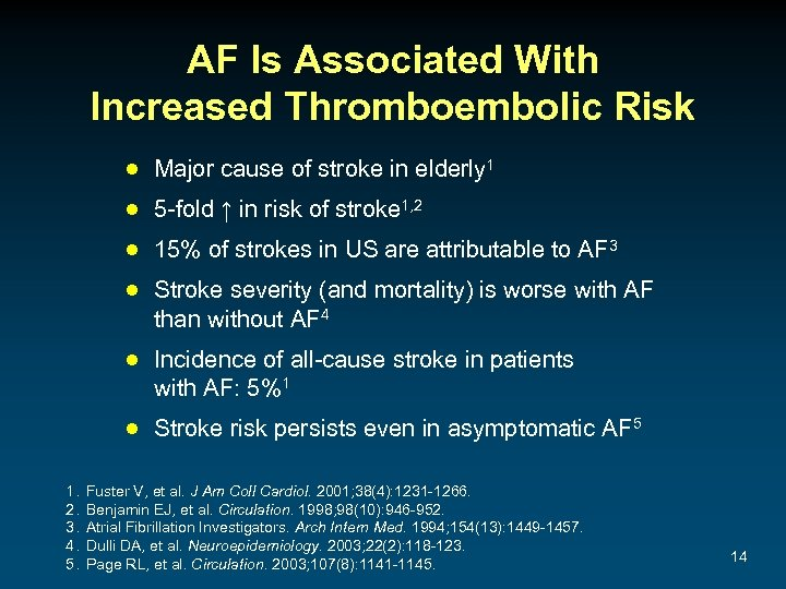 AF Is Associated With Increased Thromboembolic Risk ● Major cause of stroke in elderly
